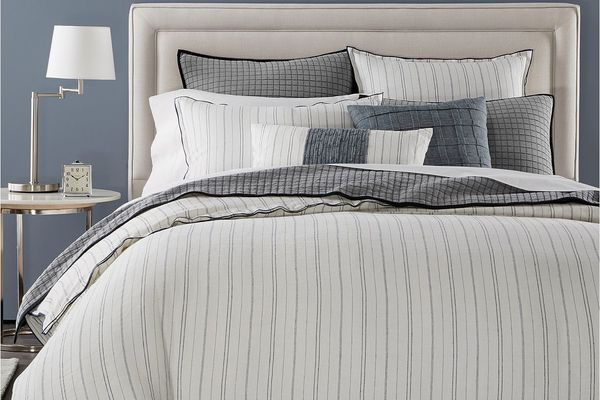 Hotel Collection Linen Ticking Stripe Full/Queen Duvet Cover