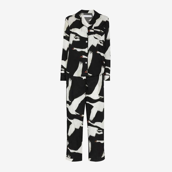 Desmond & Dempsey Leda Swan Print Pajama Set