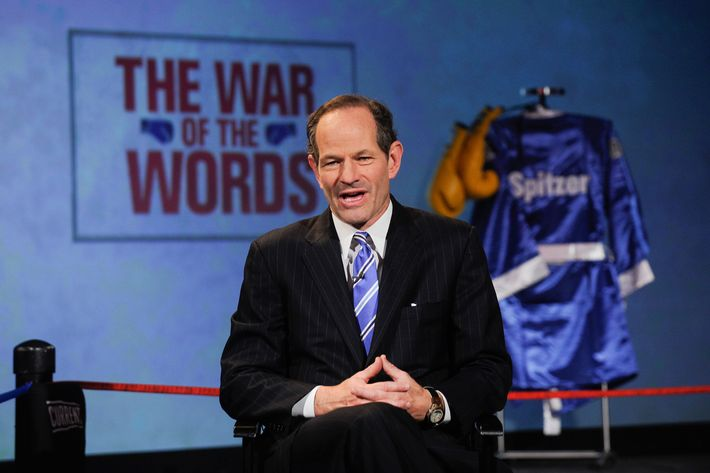 Eliot Spitzer speaks during Dish Network War Of The Words press conference at Hammerstein Ballroom on September 13, 2012 in New York City.
