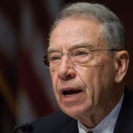 Senator Chuck Grassley, R-IA, questions a witness during a Senate Judiciary Committee's Antitrust, Competition Policy and Consumer Rights Subcommittee, hearing on the AT&T/T-Mobile merger, on May 11, 2011 in the Dirksen Senate Office Building on Capitol Hill in Washington, DC. AFP PHOTO/Mandel NGAN (Photo credit should read MANDEL NGAN/AFP/Getty Images)
