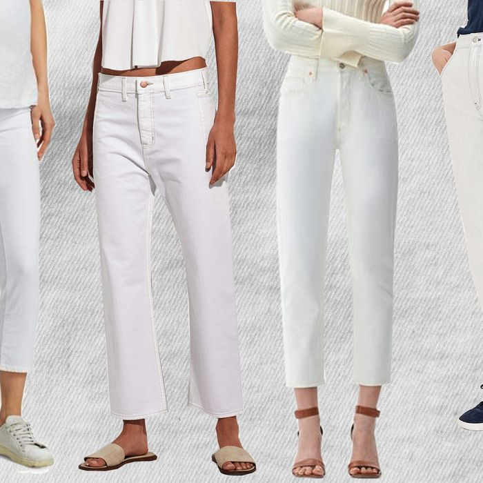 "802316d1bb45c8 There are so many ""rules"" and misconceptions around white denim: Only  between Memorial Day and Labor Day, or unwearable for anyone who commutes  on the ..."
