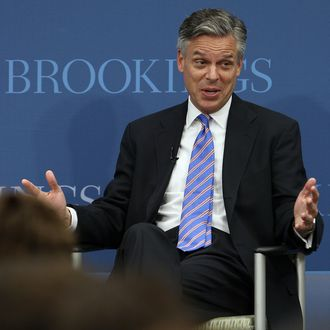 WASHINGTON, DC - NOVEMBER 14: Republican presidential candidate Jon Huntsman speaks at the Brookings Institution November 14, 2011 in Washington, DC. During a question and answer session Huntsman detailed his plan to strengthen the American economy and lower the nation's unemployment rate. (Photo by Win McNamee/Getty Images)