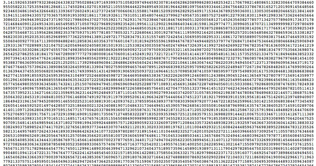 Here Are the First 1 Billion Digits of Pi -- NYMag