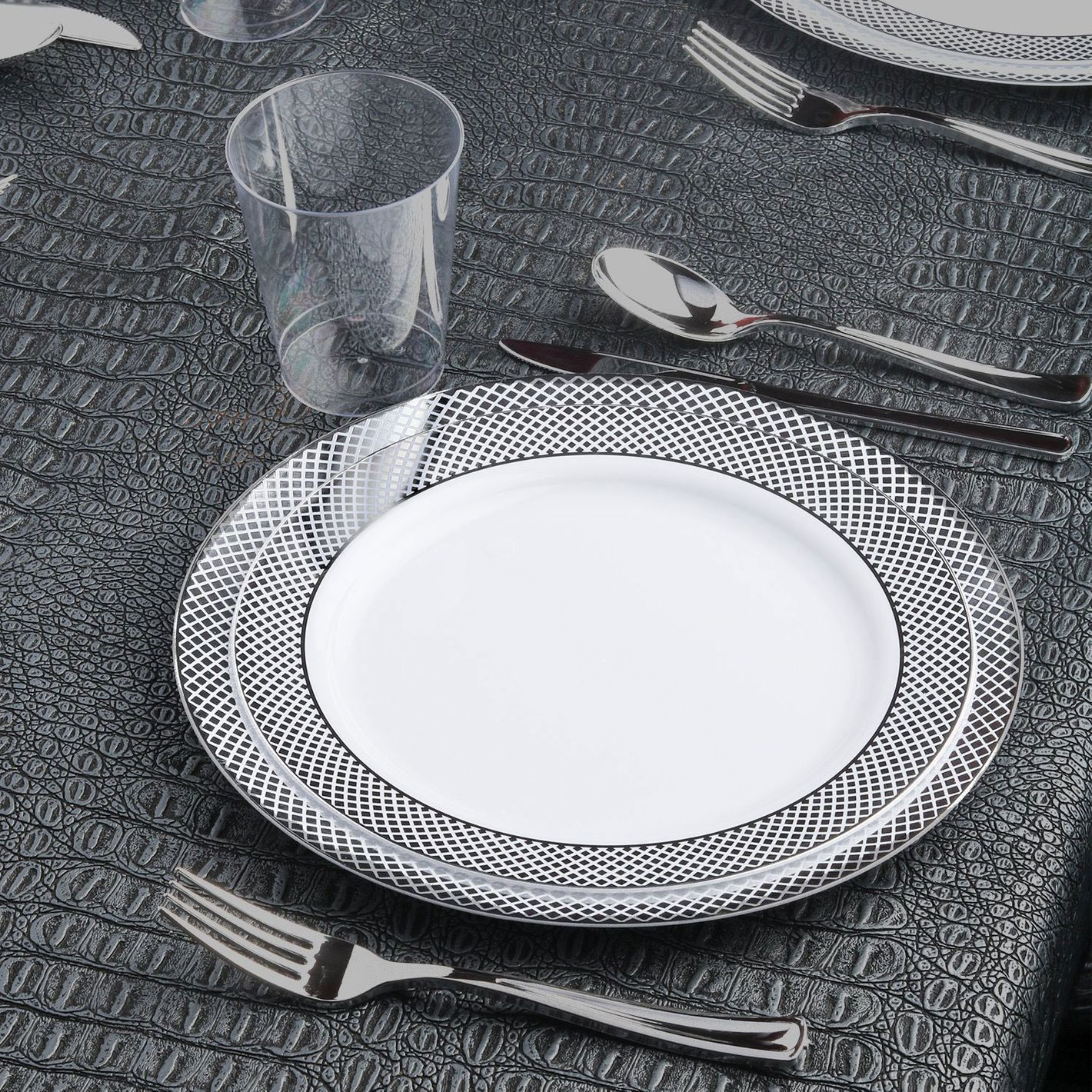 Kaya Collection — Disposable White with Silver Diamond Rim Plastic Round 10.25-Inch Dinner Plates
