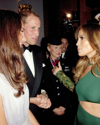 Jennifer Lopez schmoozing with the royal couple.
