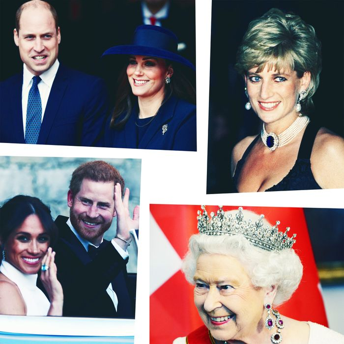 Kate Middleton, Prince William, Princess Diana, Queen Elizabeth, Meghan Markle and Prince Harry.