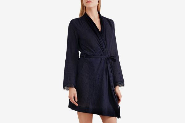 SKIN Lace-Trimmed Cotton-Gauze Robe
