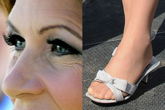 "Bachmann <a href=""http://www.motherjones.com/mojo/2011/07/michele-bachmann-hair-make-up-bill"">spent $4,700 on hair and makeup</a> in the weeks surrounding her announcement. This is around the time she started wearing false eyelashes. Bachmann often wore open-toe shoes during her candidacy, but since she appears to wear pantyhose in this picture, it's hard to tell if she got pedicures. Later in her campaign, when she battled migraines, <a href=""http://www.nytimes.com/2011/07/20/us/politics/20bachmann.html?_r=1"">Bachmann would consider whether her high heels were the cause</a>."