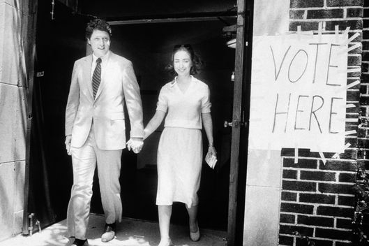08 Jun 1982 --- Bill Clinton with wife Hillary Rodham Clinton after their vote during the 1982 Arkansas gubernatorial election. --- Image by © Mike Stewart/Sygma/Corbis