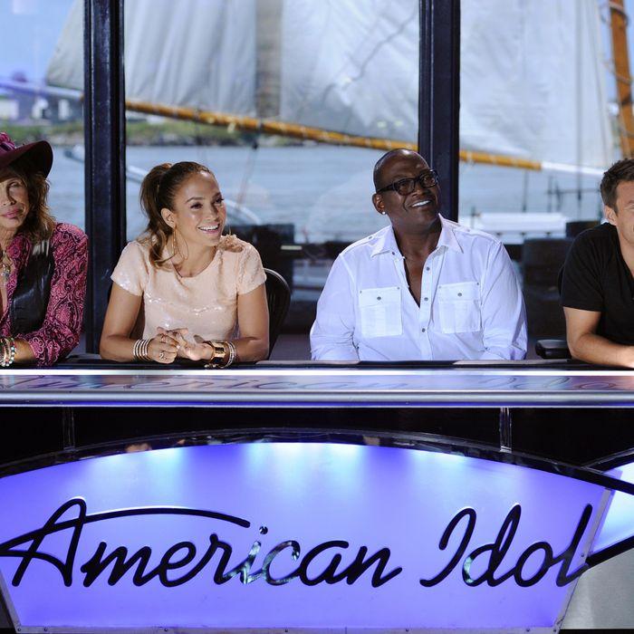 AMERICAN IDOL: L-R: Steven Tyler, Jennifer Lopez, Ryan Seacrest and Randy Jackson answer questions from the press on the set of AMERICAN IDOL Thursday, Aug. 18 in Savannah, GA. AMERICAN IDOL returns for the 11'th season on FOX. CR: Michael Becker / FOX.