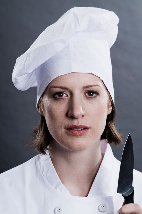 Close up of chefs serious face