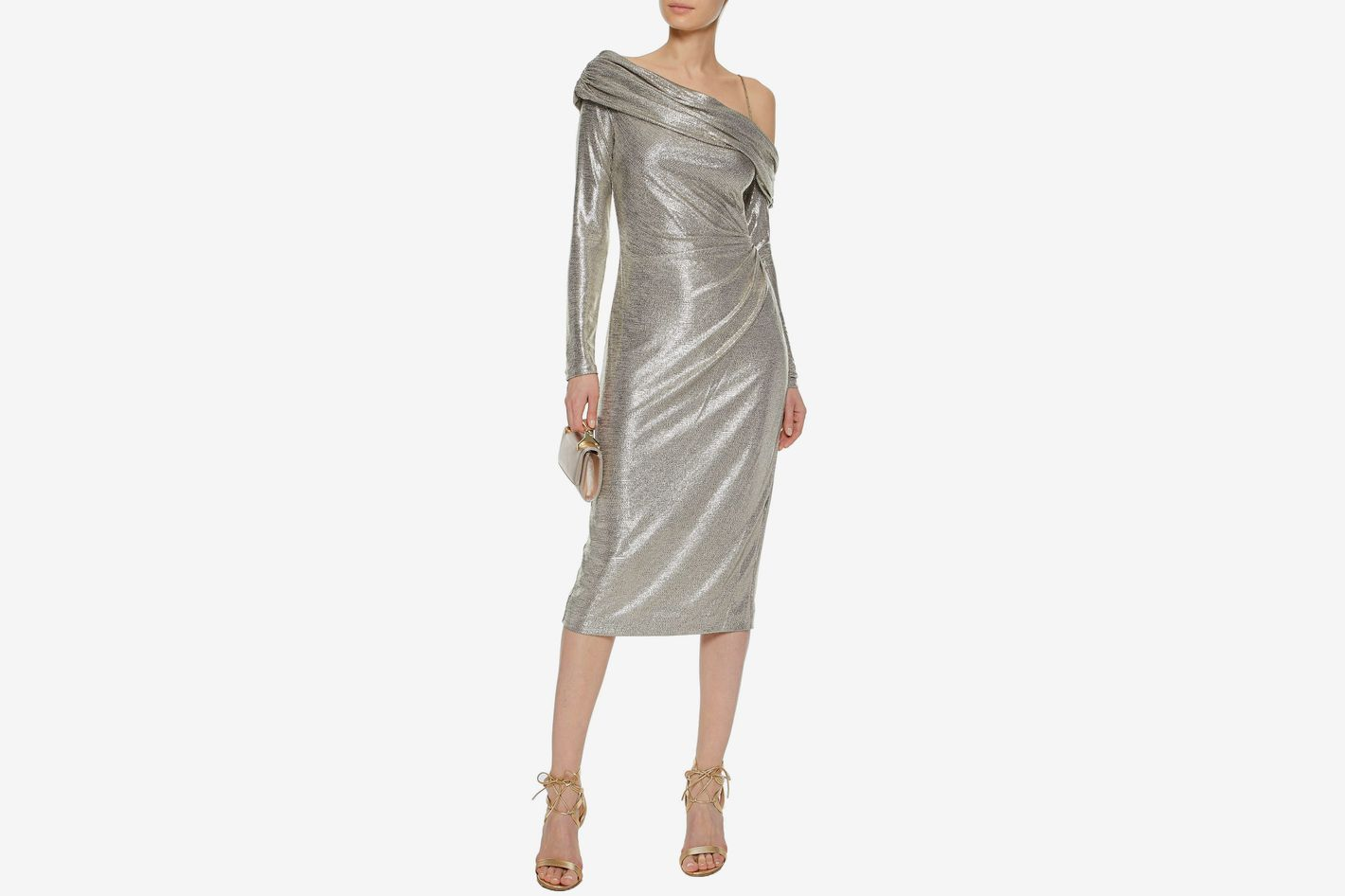 Rachel Zoe Cold-shoulder Metallic Ruched Dress