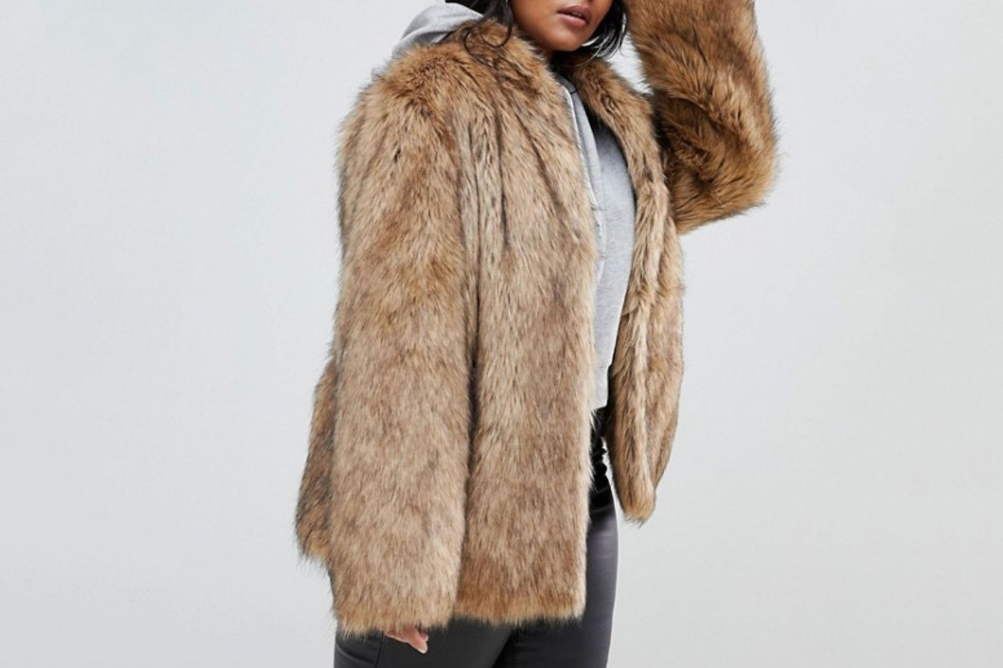 ASOS Design Curve Stand Collar Faux Fur Coat