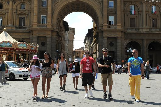 "The cast of the MTV series ""Jersey Shore"" appear during the taping of ""Jersey Shore - Season Four"" on May 18, 2011, in Florence,Italy."