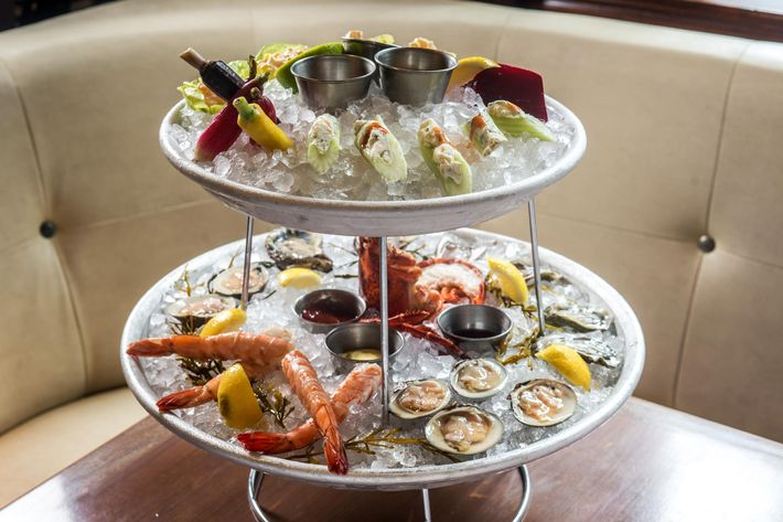 The shellfish and vegetable raw-bar towers.