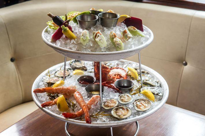 The shellfish and vegetable raw-bar towers.