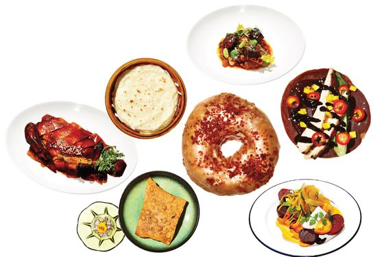 Clockwise, from left: Decoy's Peking duck; Toro's tripe-and-bean stew; La Cenita's chicken mole taco;  Little Chef's Scuttlebutt salad; Dough Loco's doughnut; Okonomi's ramen cracker with bonito tartare.
