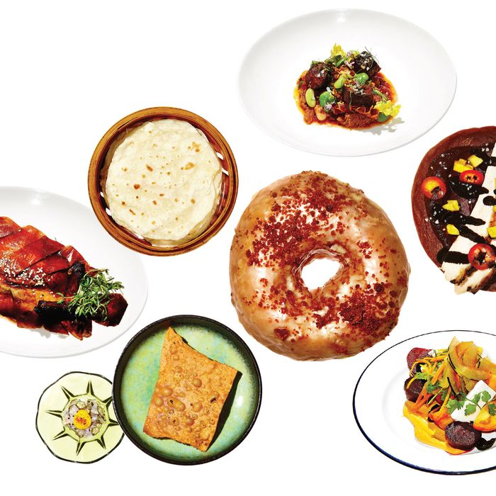 Clockwise, from left: Decoy's Peking duck; Toro's tripe-and-bean stew; La Cenita's chicken mole taco; Little Chef's Scuttlebutt salad; Dough Loco's doughnut; Okonomi's ramen cracker with bonito tartare.