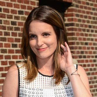 Actress Tina Fey leaves the