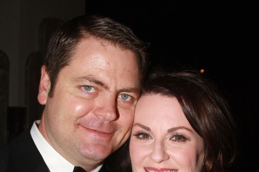 "Actress Megan Mullally and husband Nick Offerman pose at the Opening Night Party for ""Young Frankenstein"" at the New Broadway Musical by Mel Brooks at The Empire State Building on November 8, 2007 in New York City. (Photo by Bruce Glikas/FilmMagic)"