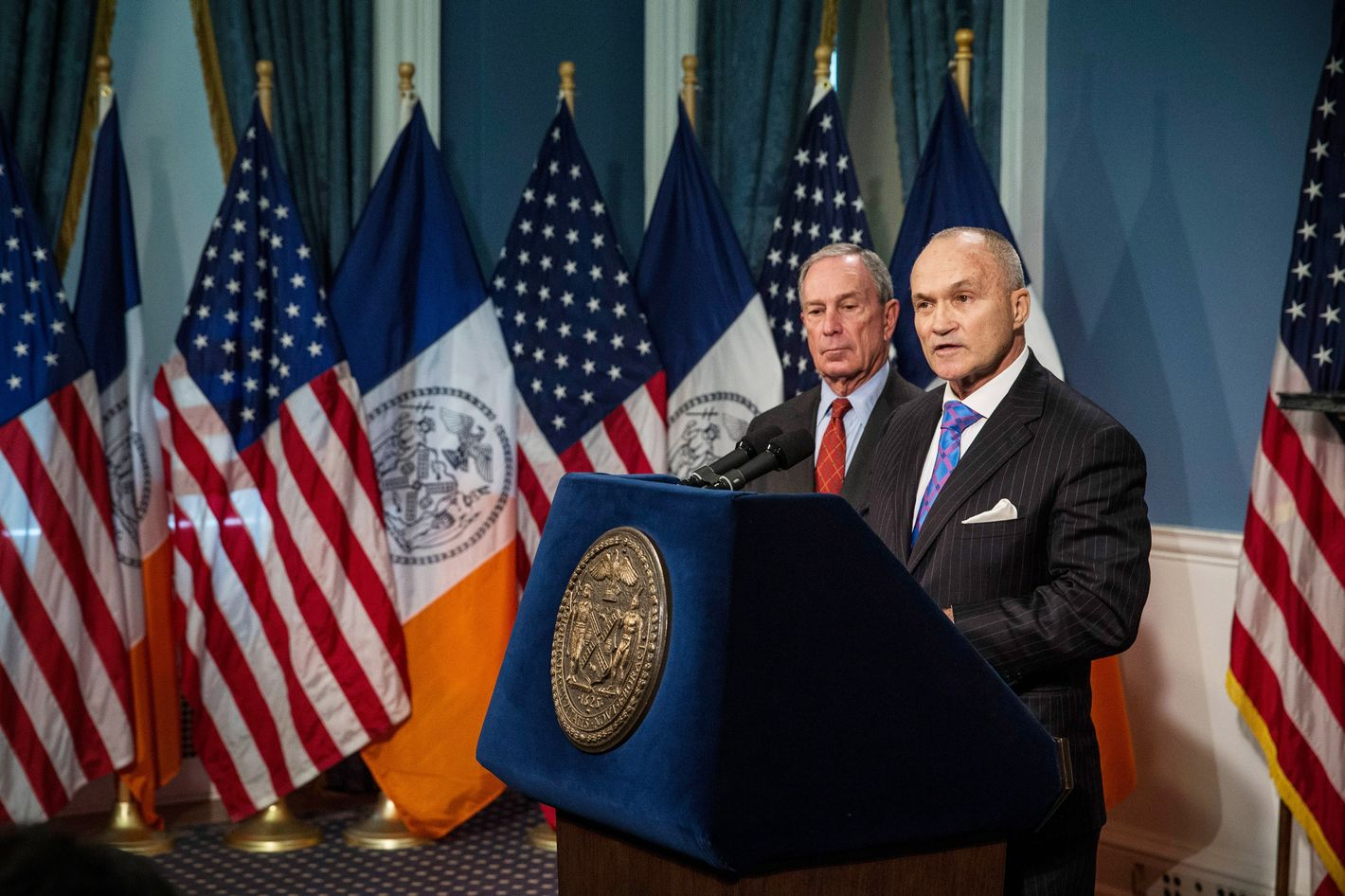 New York Police Department (NYPD) Commissioner Ray Kelly (R) speaks at a press conference with New York City Mayor Michael Bloomberg about the NYPD's Stop-and-Frisk practice on August 12, 2013 in New York City. A federal court judge ruled that Stop-and-Frisk violates rights guaranteed to people and the Bloomberg administration has vowed to appeal the case.