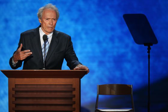 Actor Clint Eastwood speaks during the final day of the Republican National Convention at the Tampa Bay Times Forum on August 30, 2012 in Tampa, Florida. Former Massachusetts Gov. Mitt Romney was nominated as the Republican presidential candidate during the RNC which will conclude today.