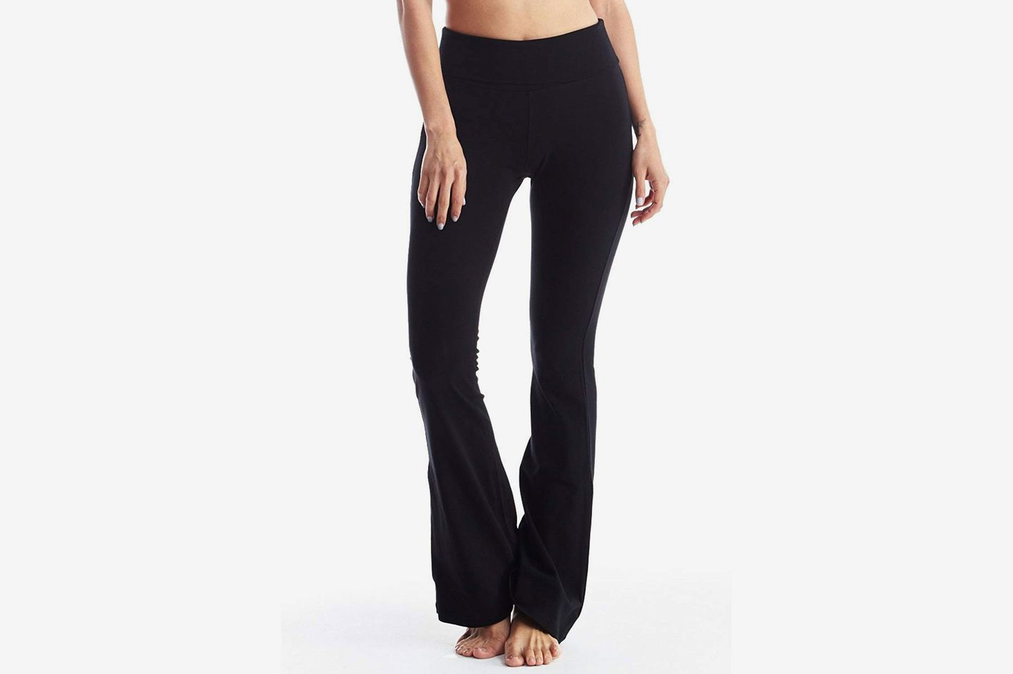 Popular Basics Women's Cotton Yoga Pants With Fold Down Waist