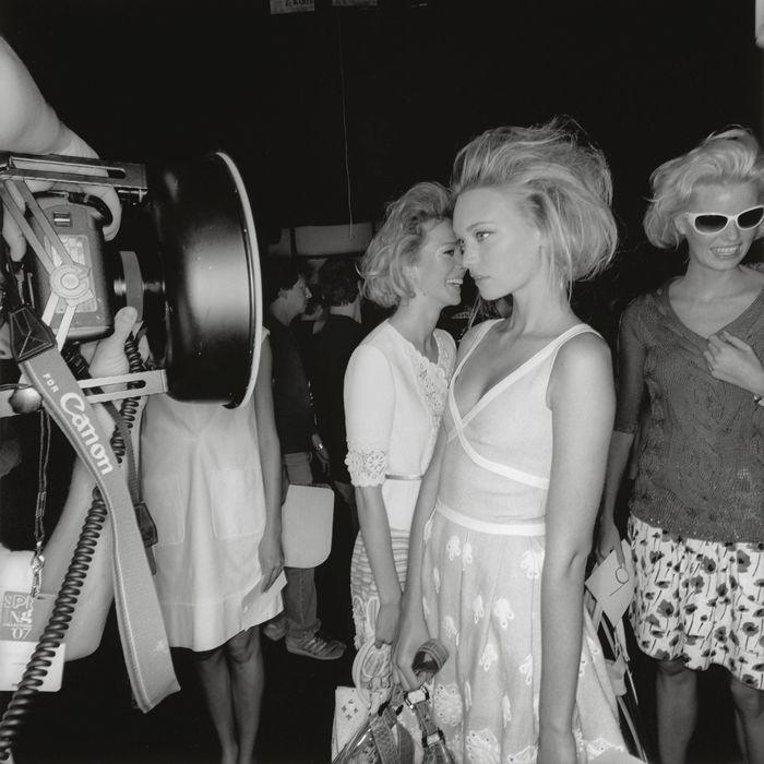 Models backstage at New York Fashion Week Spring 2007.