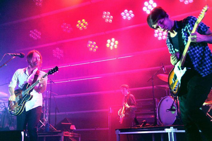 NEW YORK, NY - SEPTEMBER 28: Thom Yorke and Jonny Greenwood of Radiohead perform at Roseland Ballroom on September 28, 2011 in New York City. (Photo by Jeff Kravitz/FilmMagic)