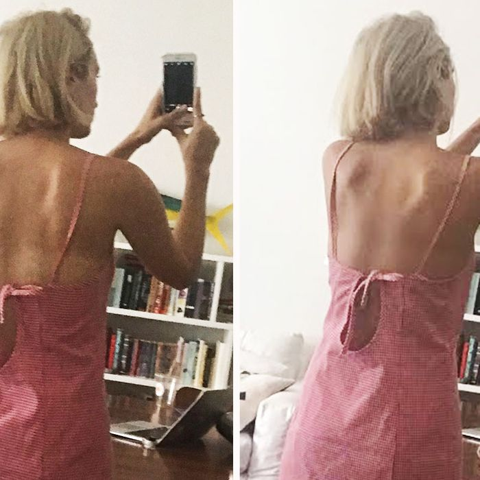 Rio Viera-Newton showing her tan before and after using body makeup