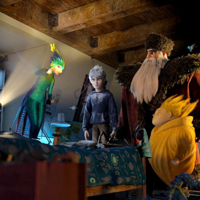 Jamie (Dakota Goyo) awakens to find The Guardians—Tooth (Isla Fisher), Jack Frost (Chris Pine), North (Alec Baldwin), Sandman and Bunnymund (Hugh Jackman)—in his bedroom in DreamWorks Animation's RISE OF THE GUARDIANS