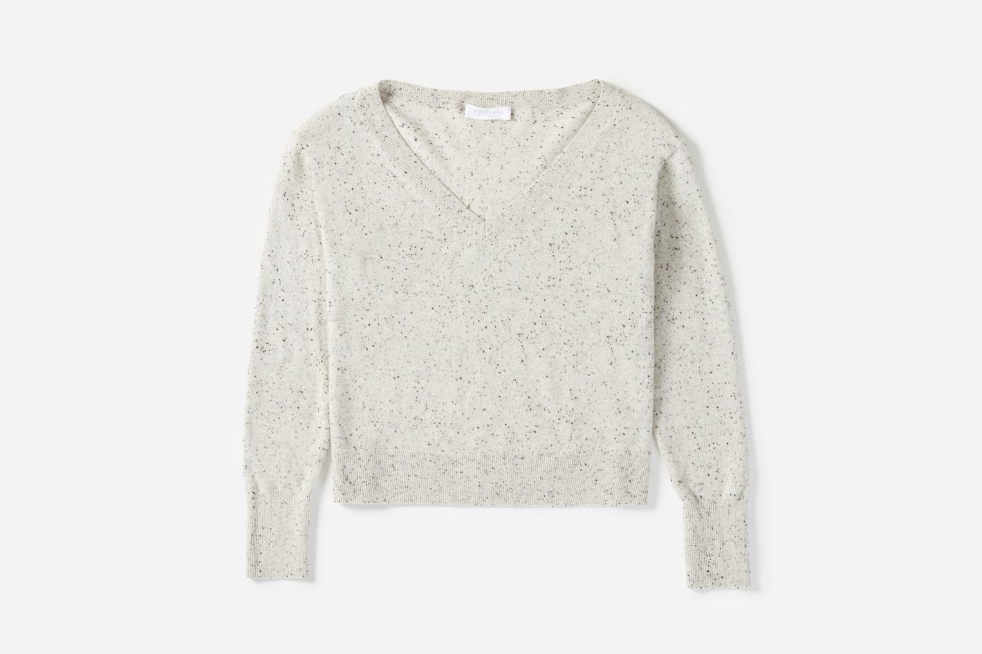 Cashmere Crop V-Neck in Frost Donegal