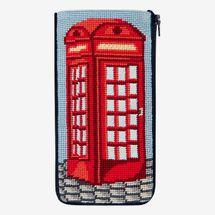 Stitch & Zip Needlepoint Eyeglass Case Kit, 'English Phone Booth'