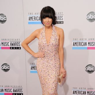 LOS ANGELES, CA - NOVEMBER 18: Recording artist Carly Rae Jepsen poses in the press room at the 40th American Music Awards held at Nokia Theatre L.A. Live on November 18, 2012 in Los Angeles, California. (Photo by Jason Merritt/Getty Images)