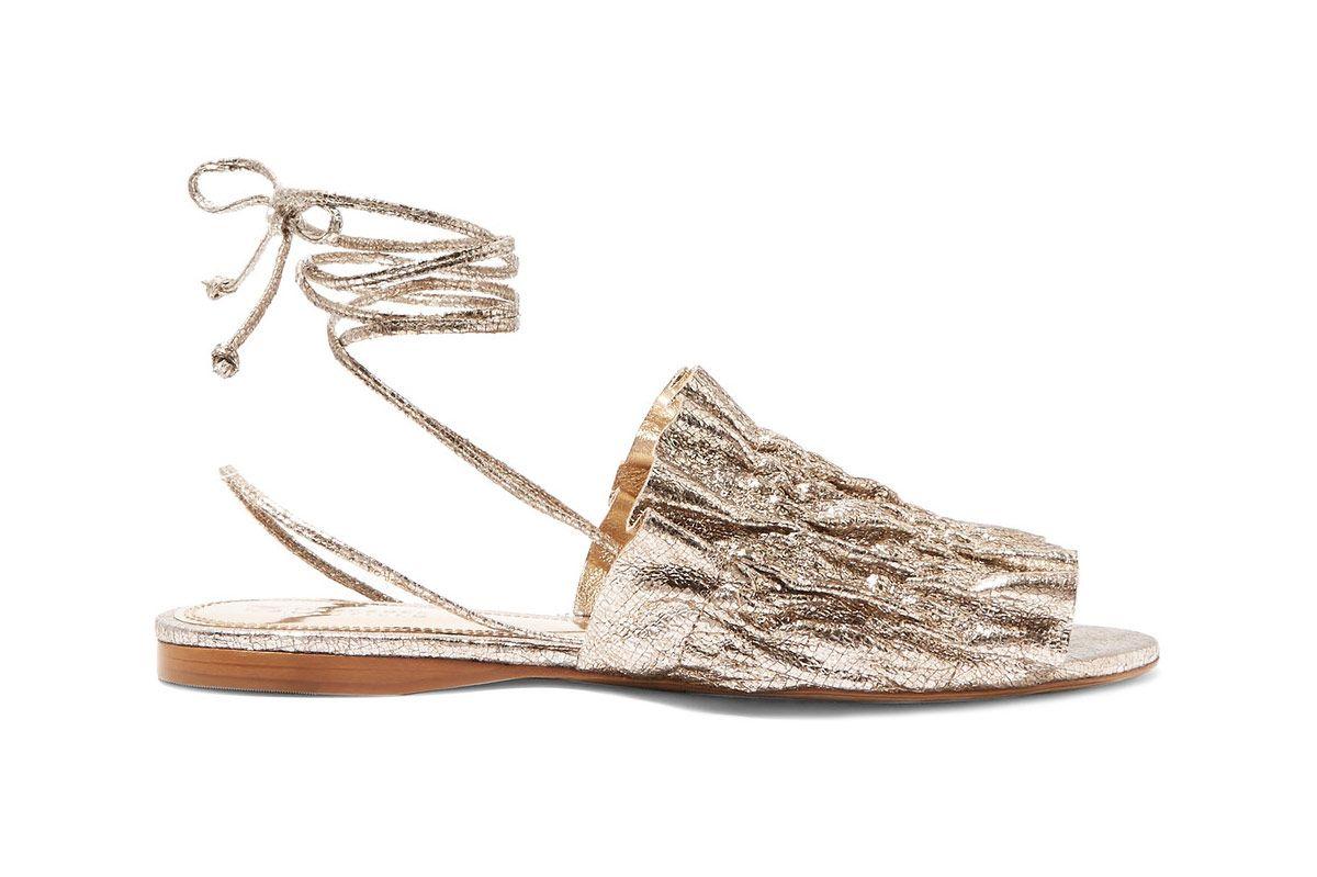 Mercedes Castillo Alesandra metallic cracked-leather sandals