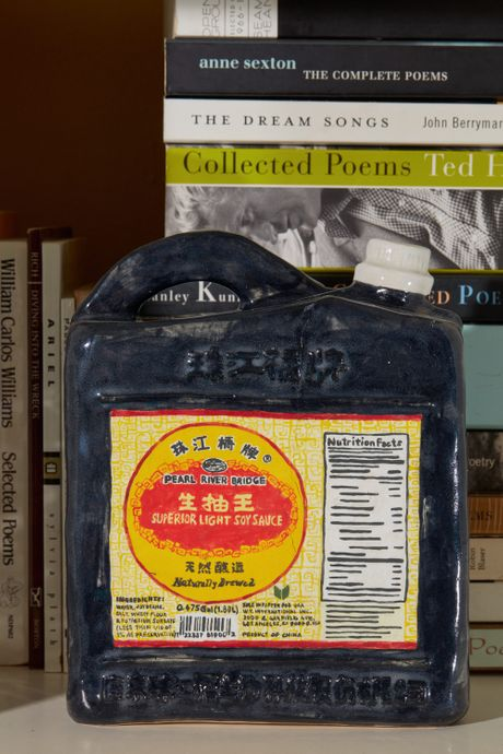 A large Pearl River Bridge soy sauce jug on a shelf in front of paperback books