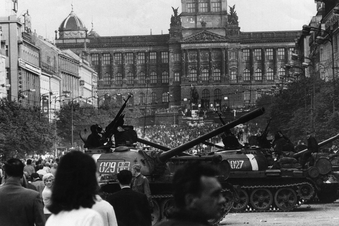 Soviet tanks surrounded by the crowd outside the National Museum in Wenceslas Square in Prague, August 1968.