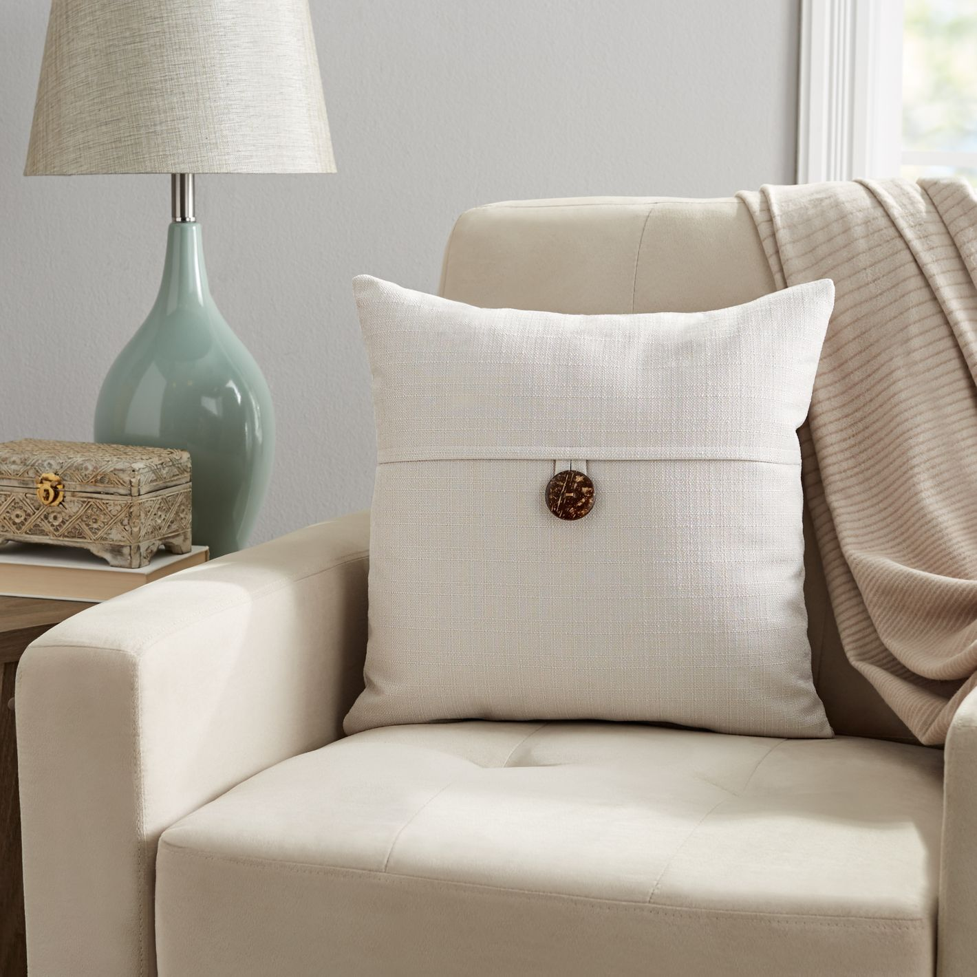 """Mainstays Dynasty Coconut Button Accent Decorative Throw Pillow, 18""""x18"""", Gray"""