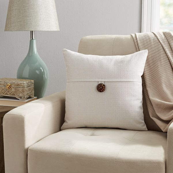 "Mainstays Dynasty Coconut Button Accent Decorative Throw Pillow, 18""x18"", Gray"
