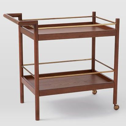 Mid-Century Bar Cart, Walnut