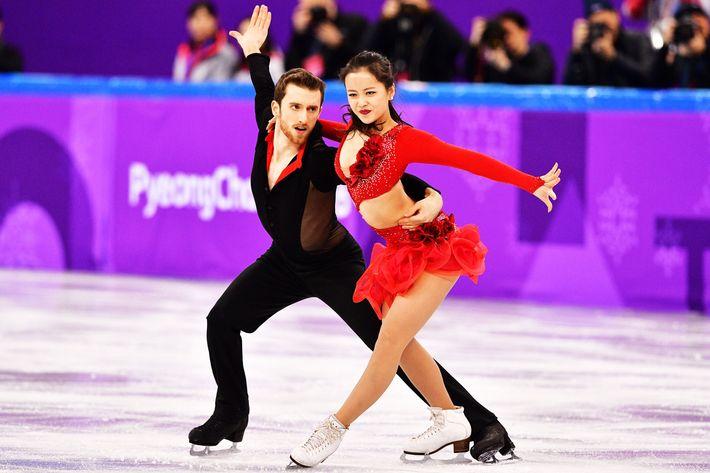 South Korea's Yura Min and Alexander Gamelin.