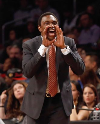 NEW YORK, NY - DECEMBER 25: Head Coach Avery Johnson of the Brooklyn Nets calls out from the sidelines against the Boston Celtics at the Barclays Center on December 25, 2012 in the Brooklyn borough of New York City. NOTE TO USER: User expressly acknowledges and agrees that, by downloading and/or using this photograph, user is consenting to the terms and conditions of the Getty Images License Agreement. The Boston Celtics defeated the Brooklyn Nets 93-76. (Photo by Mike Stobe/Getty Images)