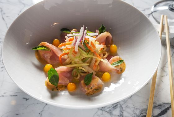 Hamachi with Thai mango salad and a rocoto-miso vinaigrette.
