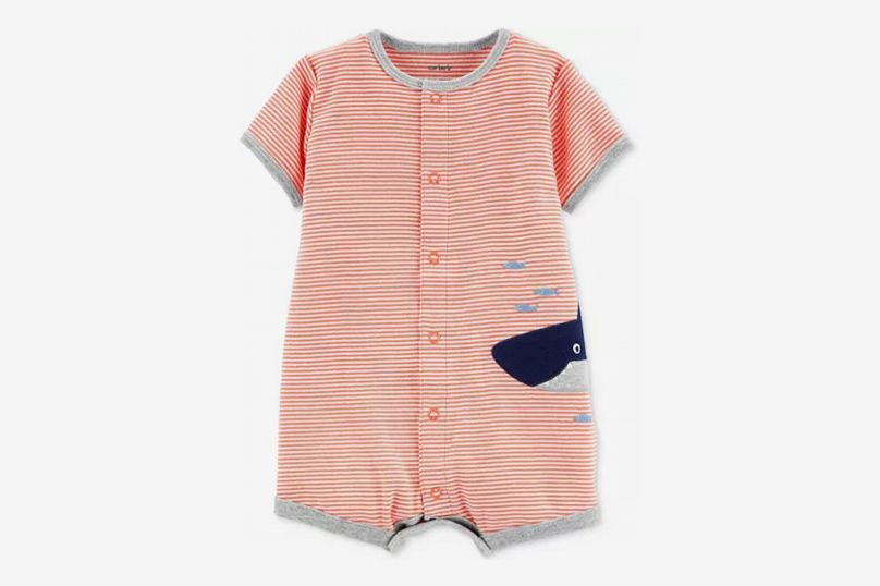 Carter's Striped Shark Snap-Up Romper