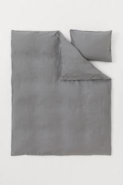 H&M Home Washed Linen Duvet Cover Set