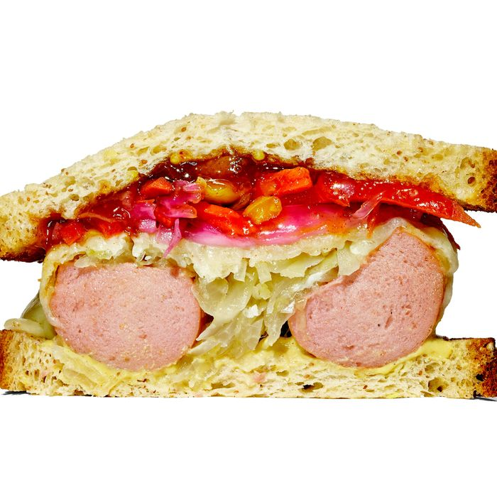 For starters, there's a knockwurst sandwich.