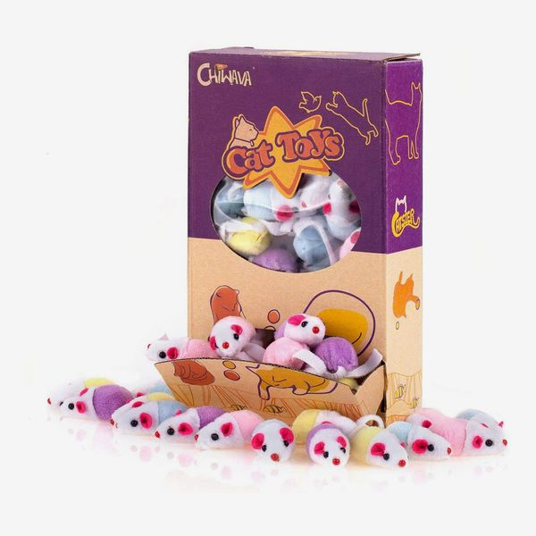 Chiwava 36-Pack 1.8-Inch Small Interactive Cat Toys Mice With Catnip Rattle