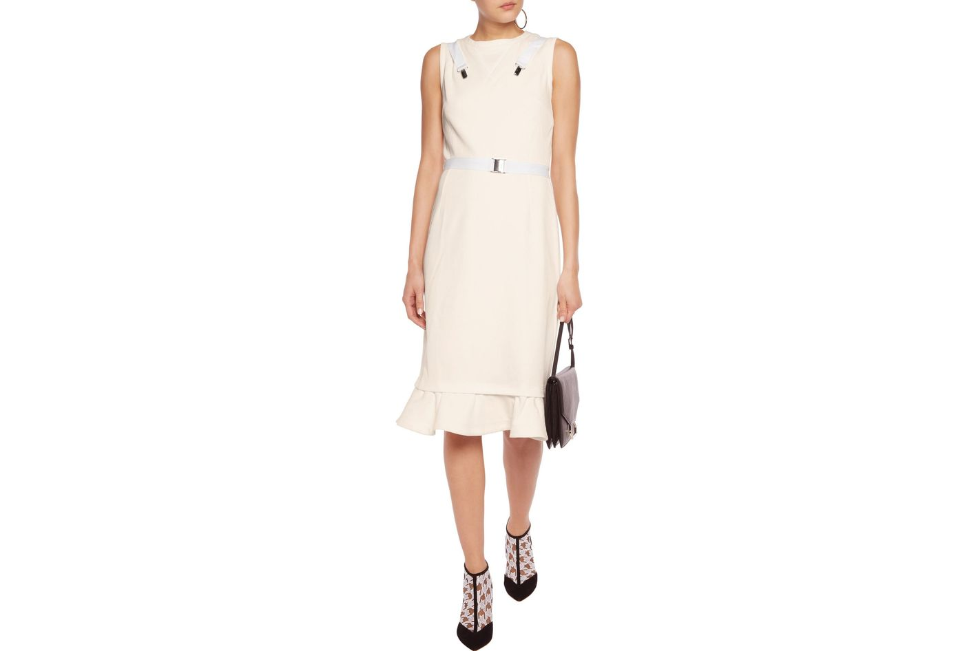 J.W. Annderson Fluted buckle-embellished twill dress