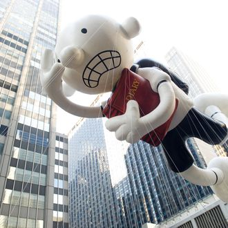 The Diary of a Wimpy Kid balloon floats in the Macy's Thanksgiving Day Parade in New York in New York, Thursday, Nov. 22, 2012. (AP Photo/Charles Sykes)