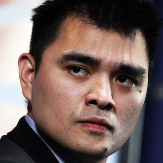 SAN FRANCISCO, CA - JULY 11: Former Washington Post and San Francisco Chronicle reporter Jose Antonio Vargas speaks at the Commonwealth Club of California on July 11, 2011 in San Francisco, California. Vargas, an illegal immigrant who recently came out in an article in the New York Times Magazine, spoke in conversation with Hearst Newspapers Editor at Large Phil Bronstein about his life as an illegal immigrant and how he was able to work for major U.S. newspapers. (Photo by Justin Sullivan/Getty Images)